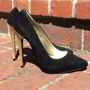 Suede Pointy Black Heels with Golden Heel Detail